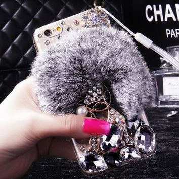Luxury The cat bling Warm Soft Beaver Rabbit Fur Hair phone cases for iphone X 5S 5C 6s 7 8 8Plus protective phone back housing