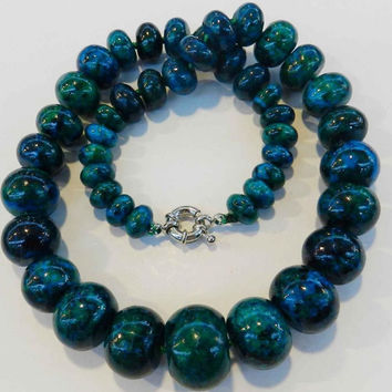 "10-20mm chrysocolla abacus rondelle Beads Fashion diy charms Necklace 17"" GE1050"