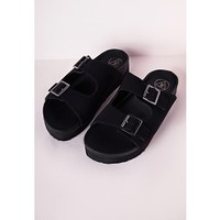 Double Strap Buckle Sliders Matte Black - Shoes - Flat Shoes - Missguided