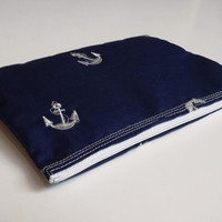 Navy Anchors Cosmetic Bag White Anchors Pouch Small Cosmetic Pouch Nautical Cosmetic Bag Travel Bag Zipper Pouch Cell Phone Case Accessories