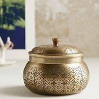 Moroccan Embossed Metal Candle-