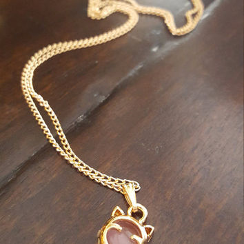 Dainty jewelry Beautiful Lucky Cat charm gold plated necklace Thin small chain Stud pendant