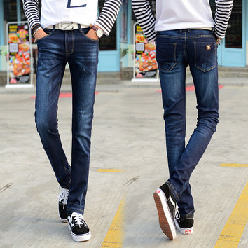Summer Jeans Slim Korean Men Stretch Pants Skinny Pants [6541362563]