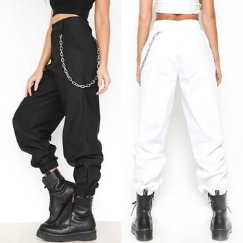 High Waist Sport With Chains 2018 Summer Female Golf Sports Pants Solid Color Long Pants Women Slim