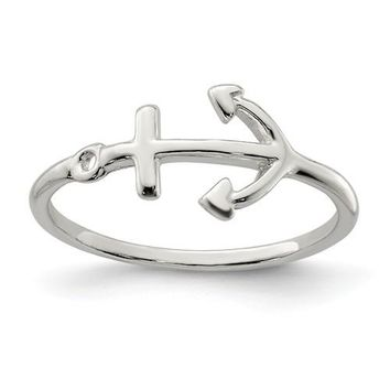 Sterling Silver Sideways Petite Anchor Ring