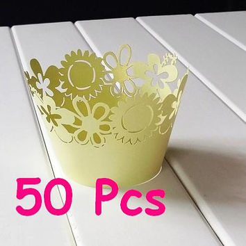 Stencil sunflower laser cut wrapper blossom flower cuke holder flower lace wedding Cupcake yellow flower Wrappers party floral cake wrapper