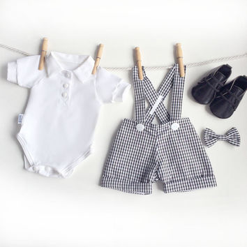 Black White Gingham Baby Boy Outfit, 4 Piece Baby Easter Outfit, First Easter Outfit, Baby Suit, Boys Easter Clothes, Baby Suit, Ring Bearer