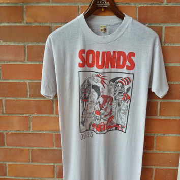 Vintage 1983 80s SOUNDS Newspaper magazine music Limited edition t-shirt original