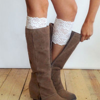 White Lace Stretch Boot Toppers