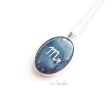 Scorpio pendant, zodiac jewelry, watercolour handpainted zodiac sign, with sterling silver plated chain