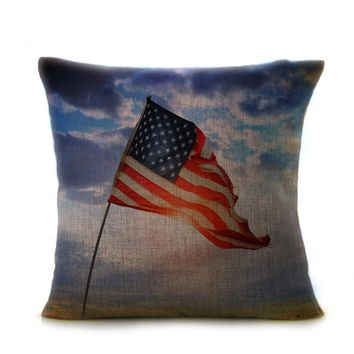 Handmade Vintage American Flag Cotton Throw Pillow - Multiple Designs and Patterns