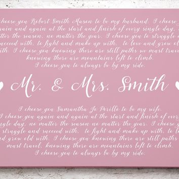 Wedding Vow Keepsake - Framed - Wedding Vows Framed - 1st Anniversary Gift - Framed Wedding Vows - Wedding Vows Frame - Gift for newlyweds