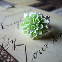 Mint Green Ring  Flower Snow White Mum Dahlia by BellaStarGlam