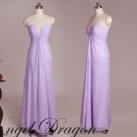 Long bridesmaid dress chiffon, Strap Wedding bridesmaid dress, Cheap purple prom dress