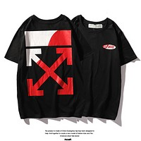 Off White New fashion bust letter print and back cross arrow print couple top t-shirt Black