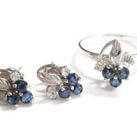 Sterling Sapphire Grapes Ring Earrings Set  Size 7 Black Hills Silver