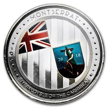 2018 Montserrat 1 oz Silver Emerald Isle of the Caribbean (Colorized)