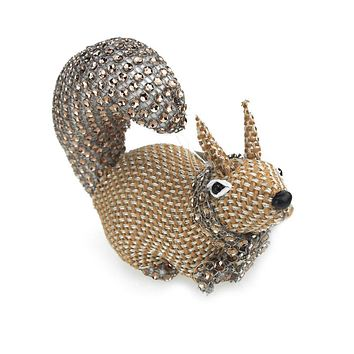 Miniature Squirrel Animal Holiday Winter Decor, Natural, 4-1/2-Inch