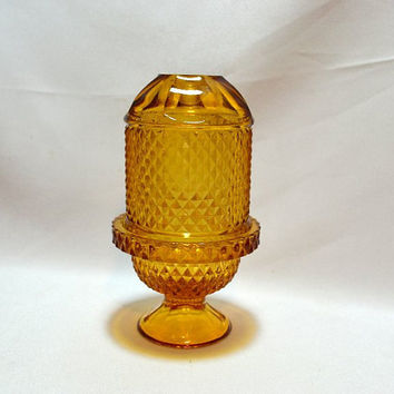Viking Glass Amber Yellow Fairy Lamp - Diamond Point - Quilted Diamond - Vintage Lighting - Votive Holder - Autumn Fall Home Decor