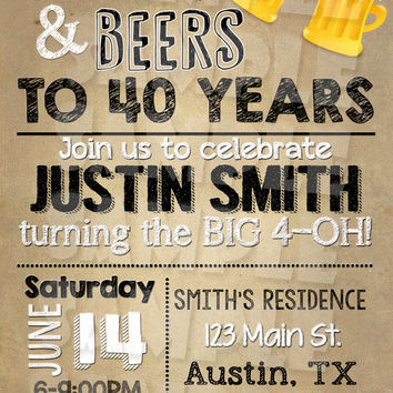 "CHEER And BEERS INVITATION - ""40th Birthday Invitation"" - Beers and Cheers Birthday Invite - Birthday Invitation for a guy 30th 50th 60th"