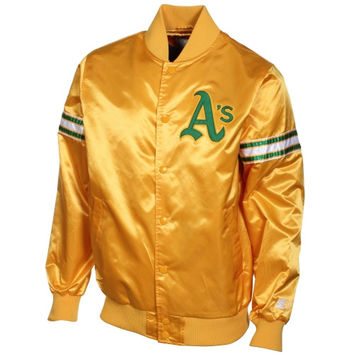 Starter Oakland Athletics Genuine Satin Snap-Up Jacket - Gold