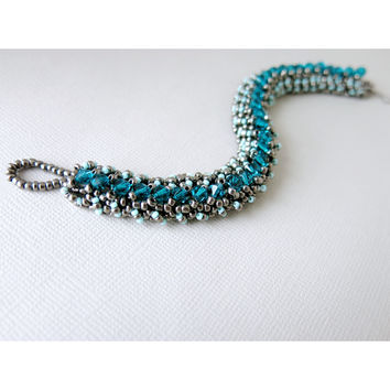 Cerulean Mermaid - Blue Zircon Swarovski Crystal - Glass Seed Bead Woven Tennis Bracelet - Gunmetal , Turquoise - Toggle
