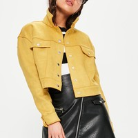 Missguided - Yellow Crop Faux Suede Trucker Jacket