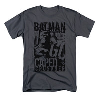 Batman Men's  Caped Crusader T-shirt Charcoal Rockabilia