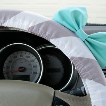 The Original Large Weathered Grey Chevron Steering Wheel Cover with Matching Seafoam Blue Bow