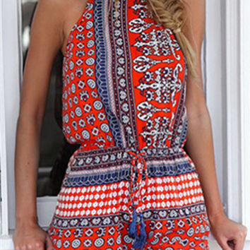 Red Halter Mixed Folk Print Romper