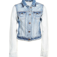 Aeropostale Womens Contrast Sleeve Destroyed Denim Jacket - Blue,
