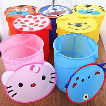 Portable Hello And Kitty Folding Cartoon Laundry Basket Bag Hamper Basket Toys Dirty Clothes Garment kids Clothing Case Storage