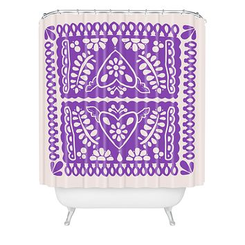 Natalie Baca Fiesta de Corazon in Purple Shower Curtain