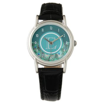 Peacock Feathers Exotic Wild Watercolor Monogram Wristwatch