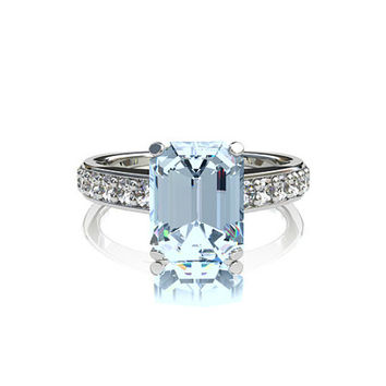 1.40ct Aquamarine engagement ring, emerald cut, white sapphire, solitaire ring, blue engagement, white gold, european shank, wedding ring