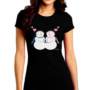 Cute Snowman and Snowwoman Couple Juniors Crew Dark T-Shirt by TooLoud