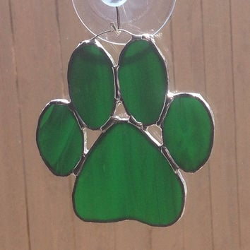 Green Stained Glass Paw Print Suncatcher