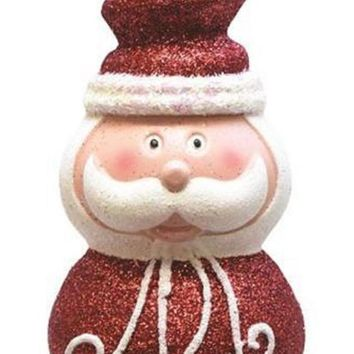 "6.25"" Merry & Bright Whimsical Santa Head with Festive Top Hat Shatterproof Christmas Ornament"