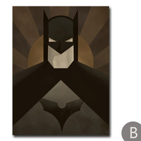 Modern Batman Minimalist Painting on Canvas
