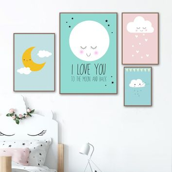 Moon Cloud Quote Nordic Posters And Prints Wall Art Canvas Painting Pop Art Canvas Prints Wall Pictures Baby Boy Girl Room Decor