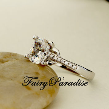 2 Ct (6.5 x 7.5 mm) Cushion Cut Lab Diamond Pave Band Split Band Split Shank Solitaire Engagement Wedding Promise Ring  ( FairyParadise)