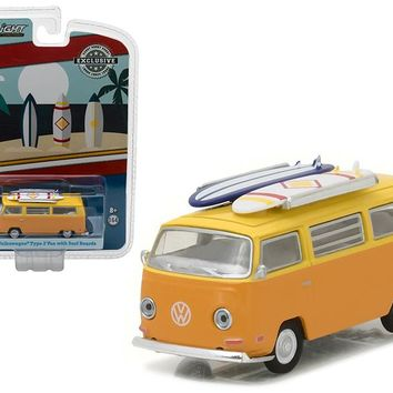 "1971 Volkswagen Type 2 T2 Van Orange with Surf Boards ""Doka\"" Hawaii Surf Shop Hobby Exclusive 1/64 Diecast Model Car by Greenlight"