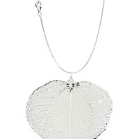 Real Leaf PENDANT with Chain ASPEN Dipped in Silver Genuine Leaf Necklace