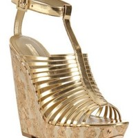 Report Signature gold metallic leather 'Lorraine' wedge