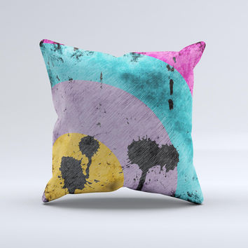 Colorful Grunge Target ink-Fuzed Decorative Throw Pillow