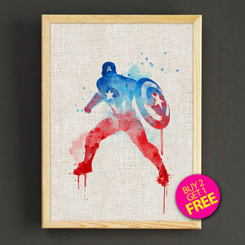 Captain America Avengers Watercolor Art Print Comic Superhero Poster House Wear Wall Decor Gift Linen Print - Buy 2 Get FREE - 03s2g