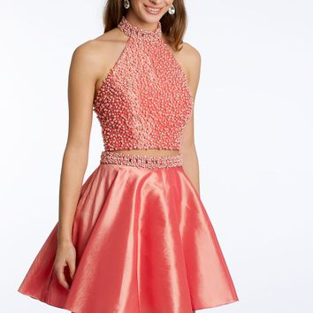 Two-Piece Taffeta Dress with Pearls