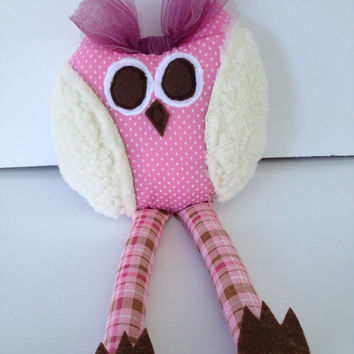 Whimsical Owl, Stuffed Owl, Toy, Rattle, Baby Toy, Toddler Toy, Owl Collector