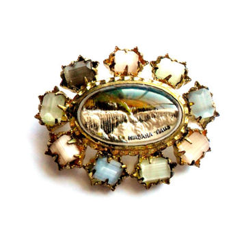 Vintage Niagara Falls Souvenir Brooch Reverse Carved Painted Intaglio Glass Satin Beads Gold Tone Waterfalls Landscape Canada New York