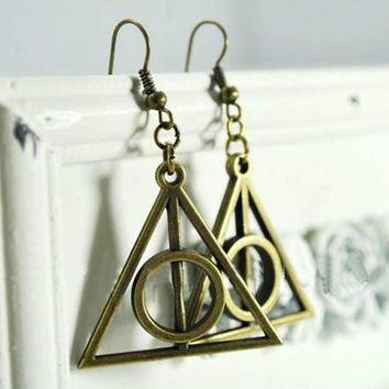 20 Pair Harry Potter Antique bronze Stone Deathly Hallows Pendant earrings HL1202